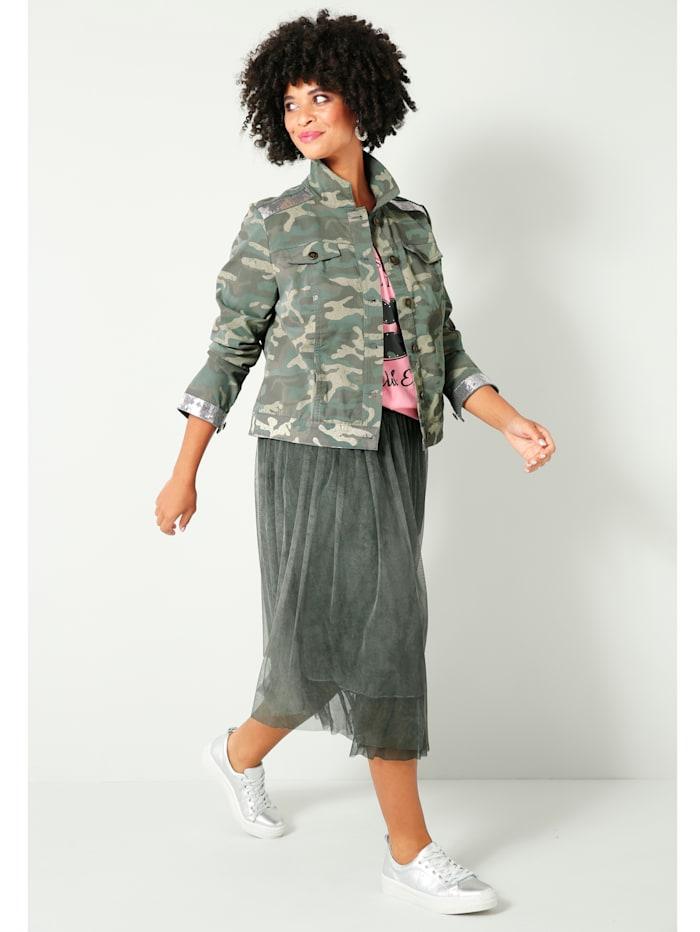 Jeansjacka med glittereffekt på ärmar och axlar