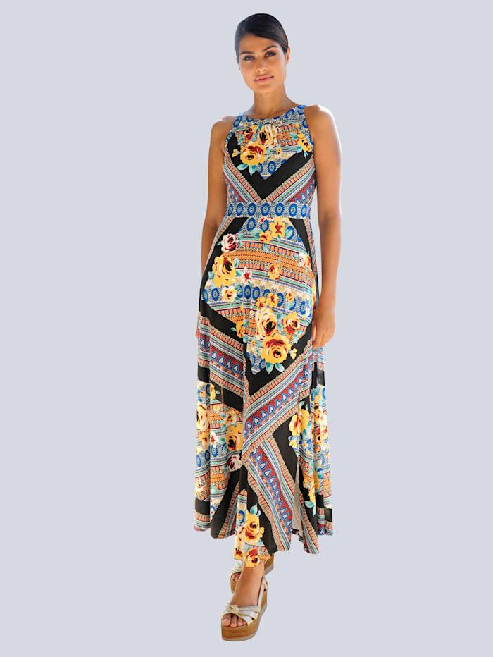Alba Moda Strandjurk in patchworklook, zwart/multicolor