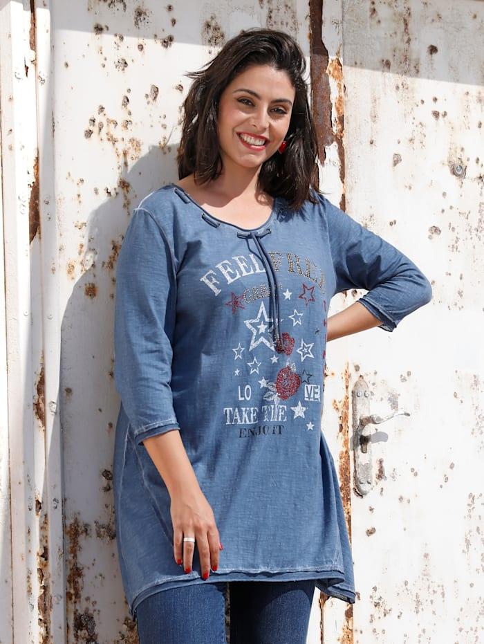 MIAMODA Longshirt mit seitlichen Zipfeln, Jeansblau