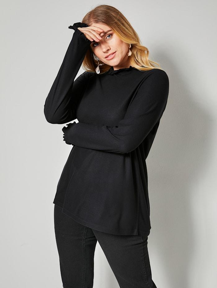 Sara Lindholm Shirt met ruches, Zwart