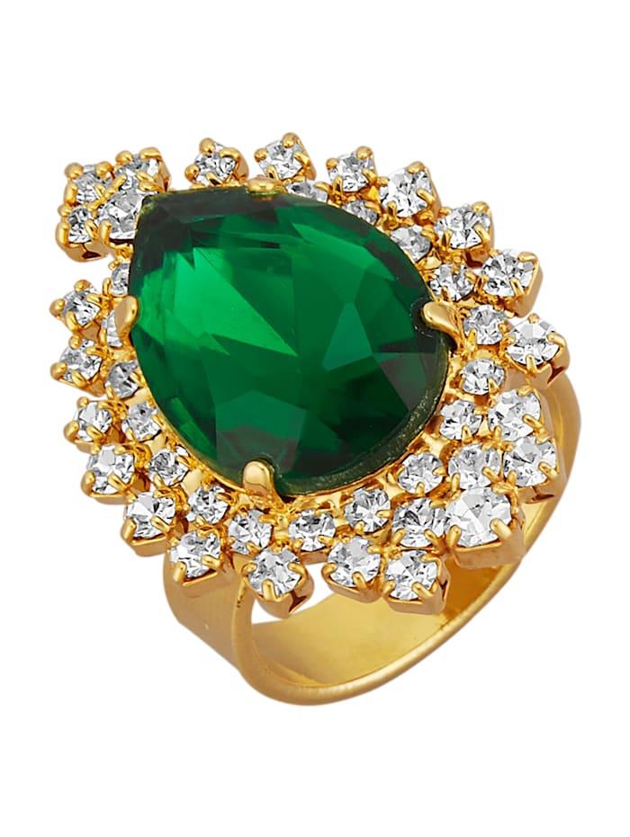 Golden Style Dámsky prsteň vo farbe žltého zlata, Zelená