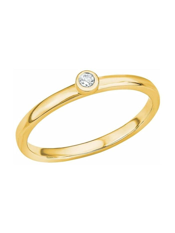 s.Oliver Ring für Damen, Sterling Silber 925, Zirkonia, Gold
