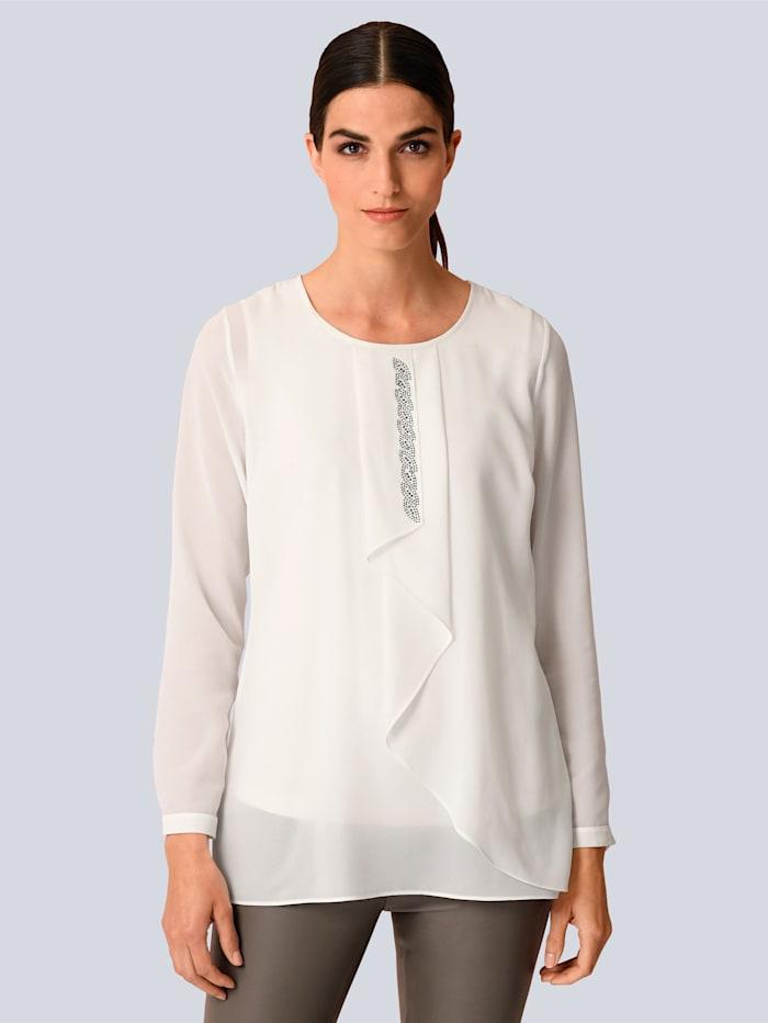 Alba Moda Bluse mit elegantem Strassdetail, Off-white
