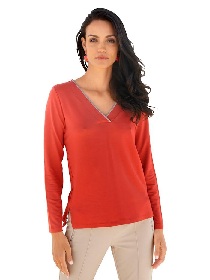 AMY VERMONT Shirt met decoratieve ketting aan de hals, Rood