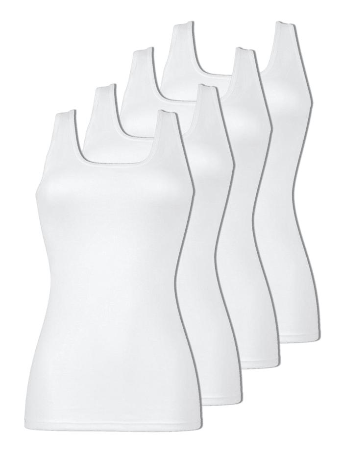Naturana 4er Sparpack Damen Unterhemd, Weiss-Weiss