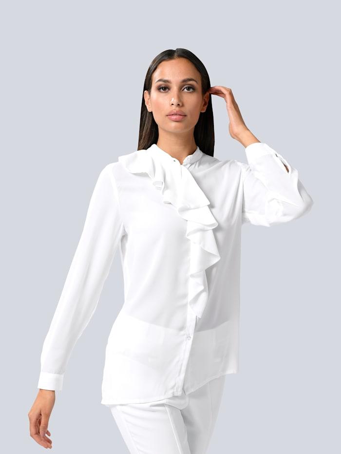 Alba Moda Bluse mit Volant am Ausschnitt, Weiß