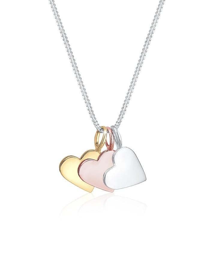 Elli Halskette Tri-Color Herz Anhänger Liebe Infinity 925 Silber, Silber