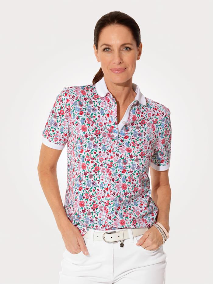 MONA Polo shirt made from pure cotton, Rosé/Light Blue/White/Fuchsia