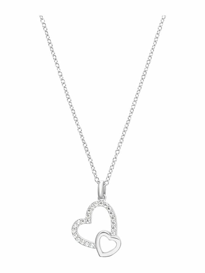 s.Oliver Kette mit Anhänger für Damen, Sterling Silber 925, Zirkonia Herz, Silber