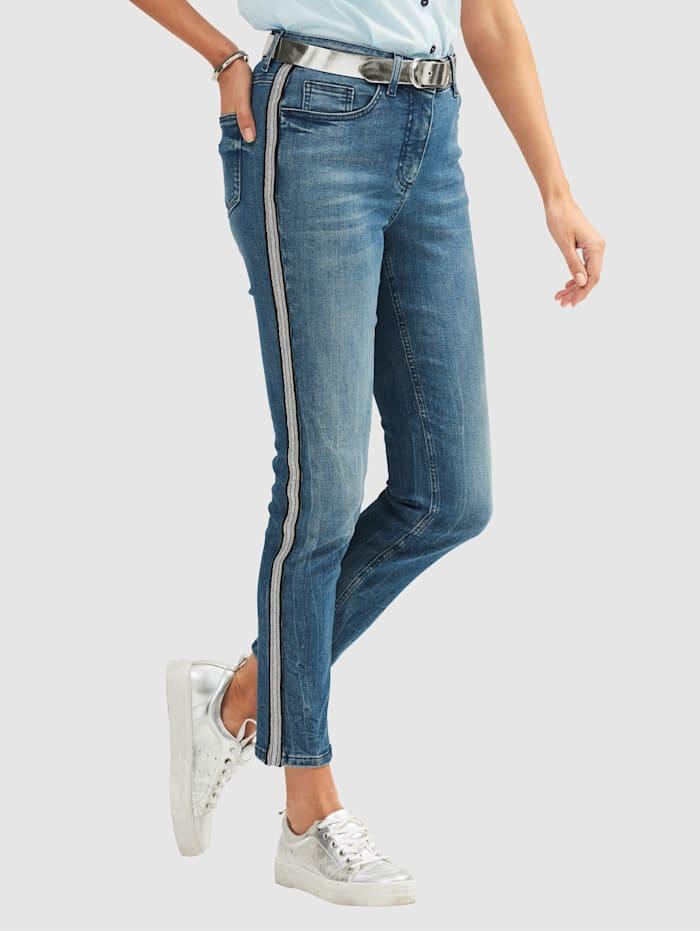 MONA Jeans met galonstrepen, Blauw