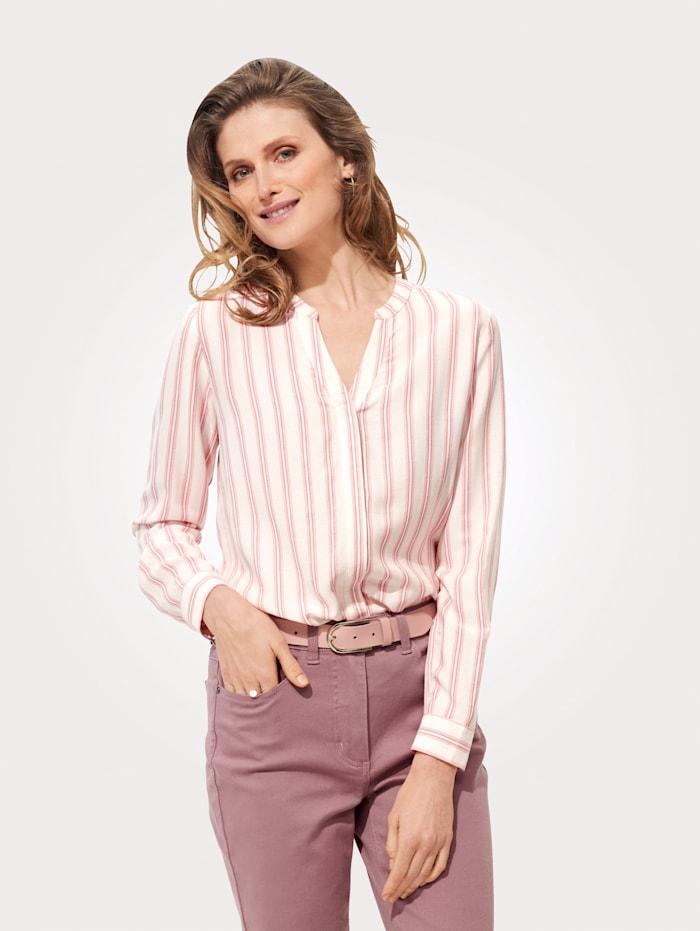MONA Bluse mit platziertem Streifen-Druck, Rosé/Weiß