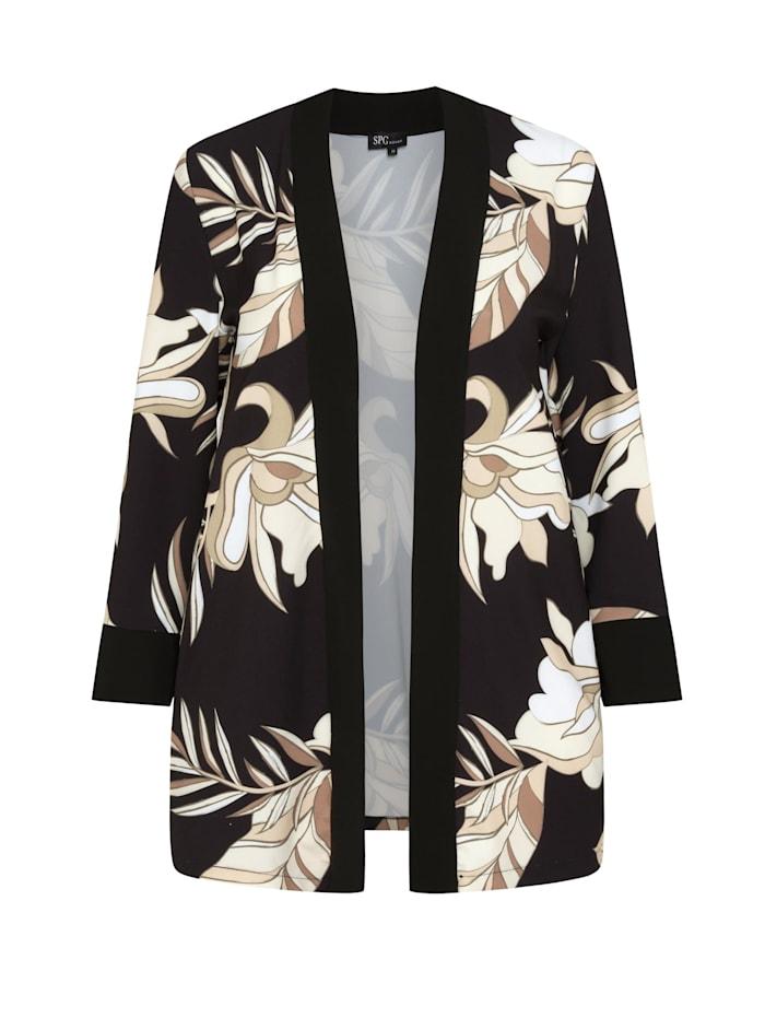 SPGWOMAN Kimono KIMONO MIT BLUMENMUSTER Kontrastverarbeitung, black