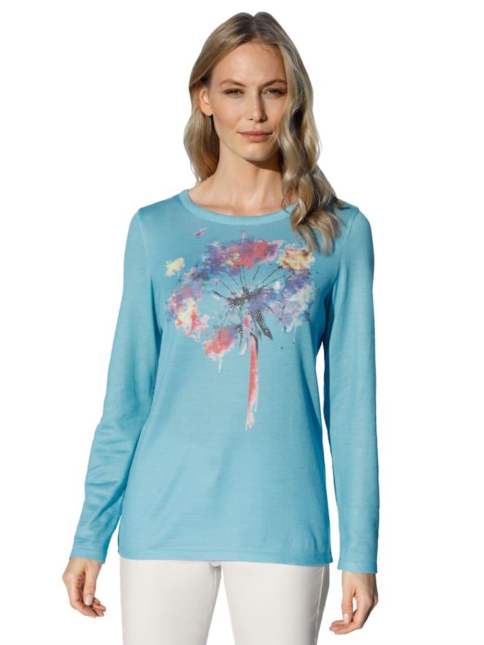 AMY VERMONT Trui met print voor, Turquoise/Geel/Paars/Wit