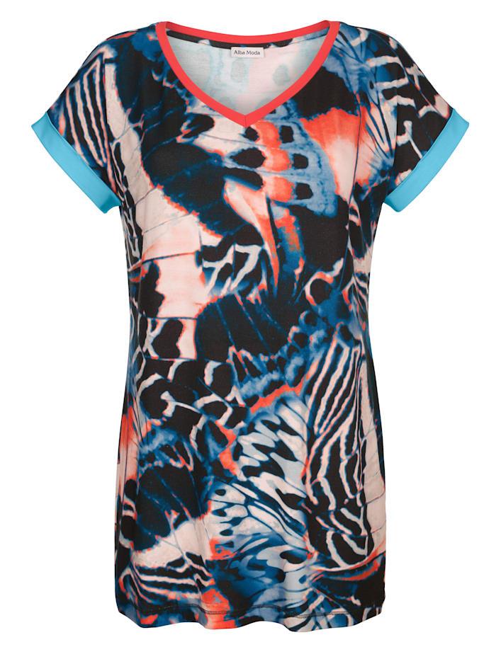 Alba Moda Strandshirt mit farbigen Blenden, Blau-Bunt