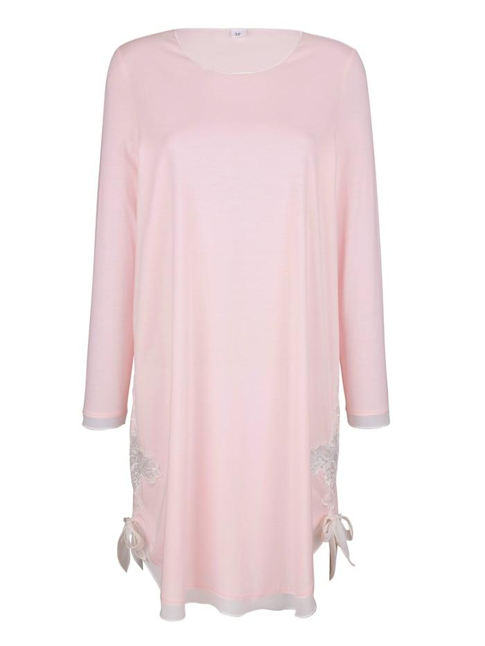 Simone Nachthemd met elegant kanten motief, Roze/Ecru