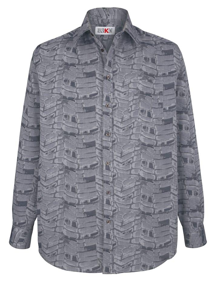 Roger Kent Overhemd met jacquardpatroon, Zilvergrijs