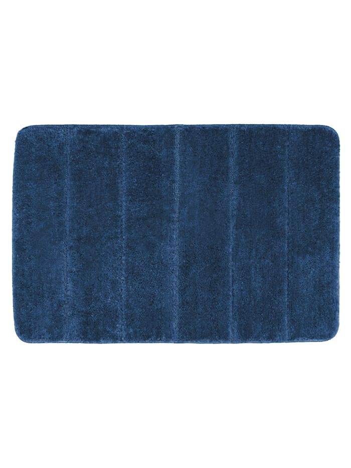 Wenko Badteppich Steps Marine Blue, 60 x 90 cm, Mikrofaser, Polyester/Mikrofaser: Blau