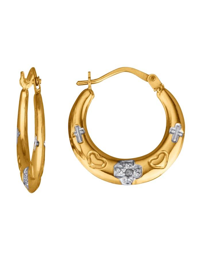 Créoles avec diamants, Coloris or jaune