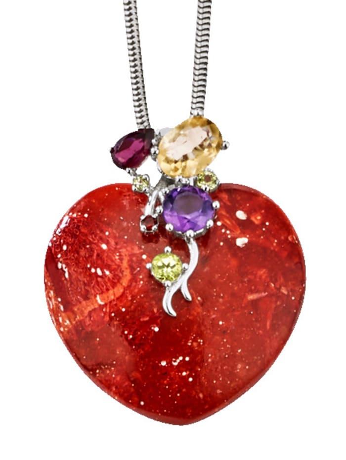 Herz-Anhänger mit Koralle, Silberfarben