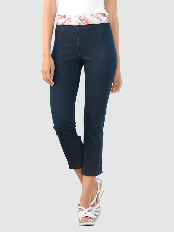 Laura Kent 7/8-jeans in model Lotta met decoratieve elastische band, Blauw
