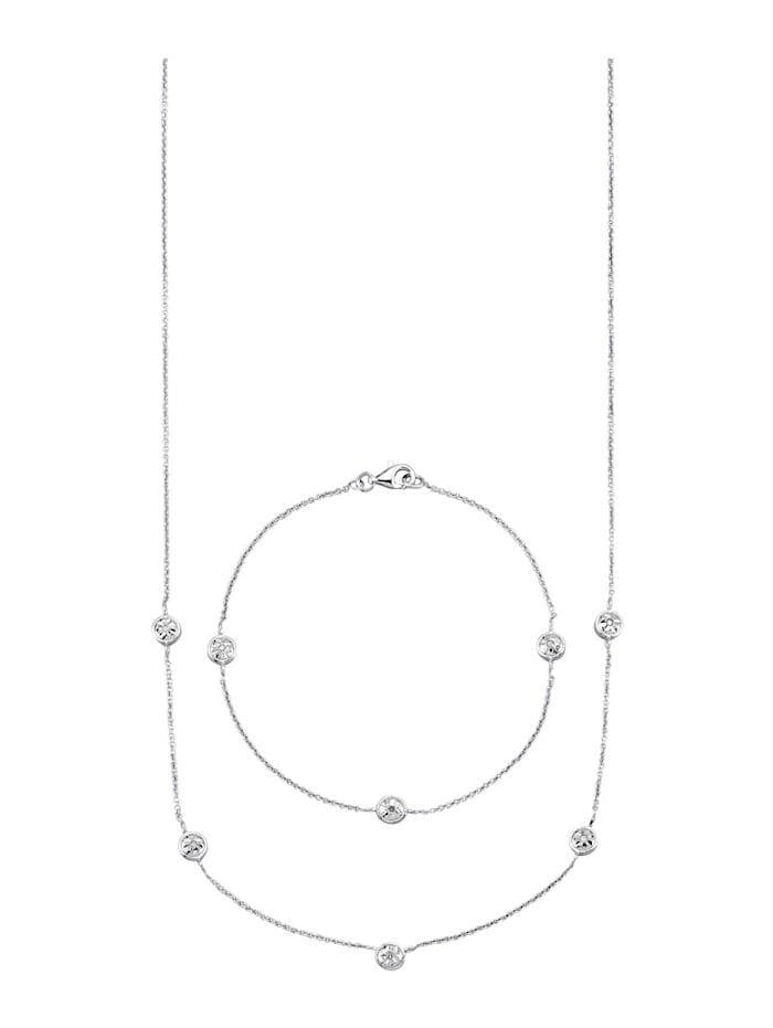 Halsband & armband med diamanter, Silverfärgad