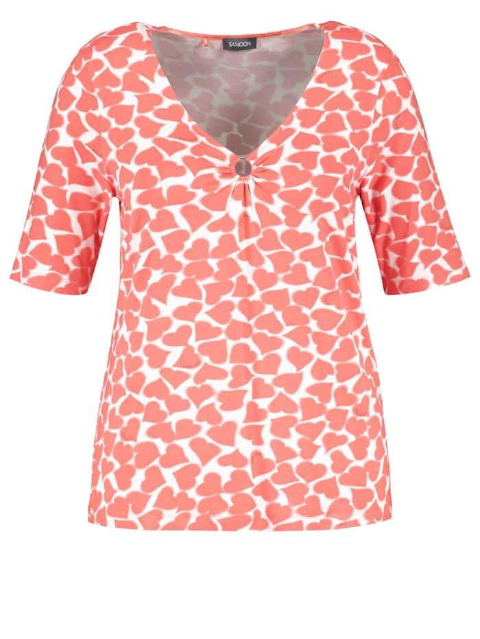 Samoon T-Shirt mit Herz-Print, Fusion Coral gemustert