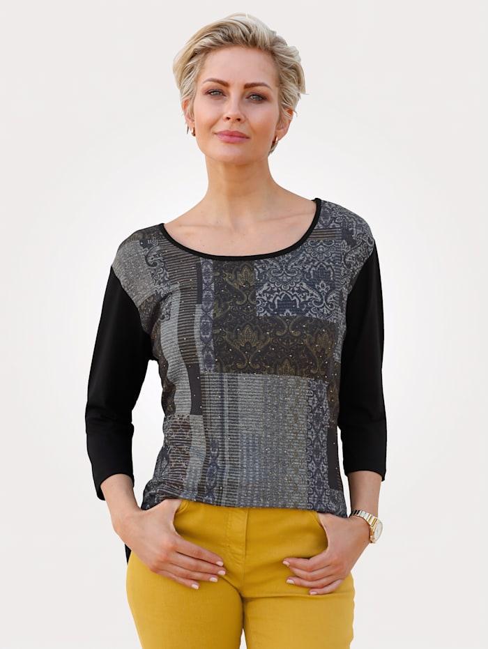 MONA Shirt im Materialmix, Schwarz/Gelb