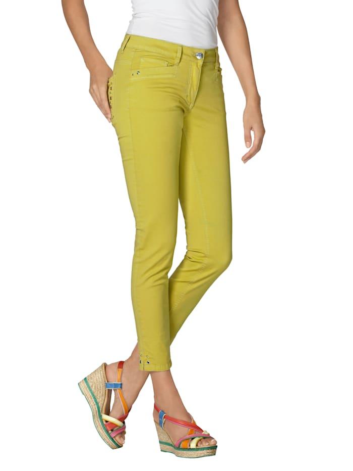 AMY VERMONT Jeans met studs en oogjes, Geel