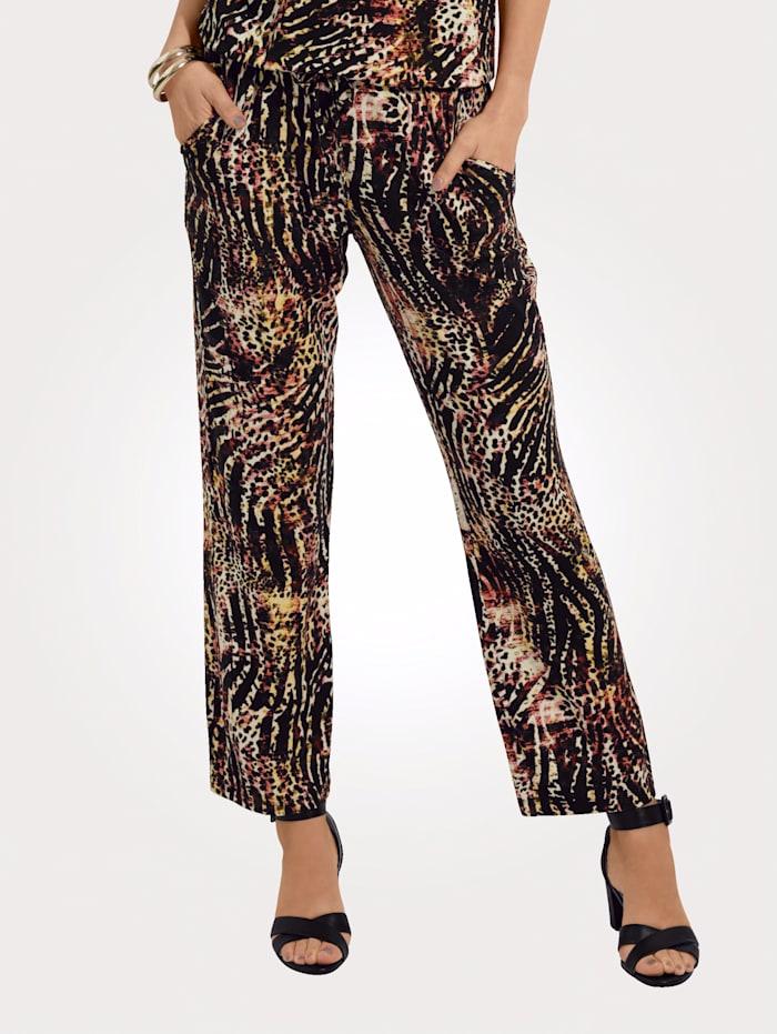 MONA Pantalon Jersey agréable à porter, Noir/Brique/Jaune