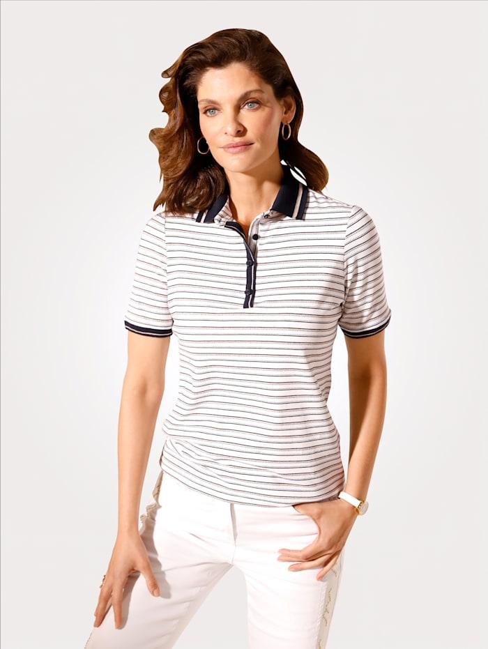 MONA Poloshirt mit Glanzgarneffekten, Weiß/Marineblau/Goldfarben