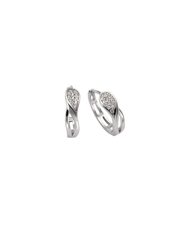 Creolen 925/- Sterling Silber Zirkonia weiß 1,4cm Glänzend 925/- Sterling Silber