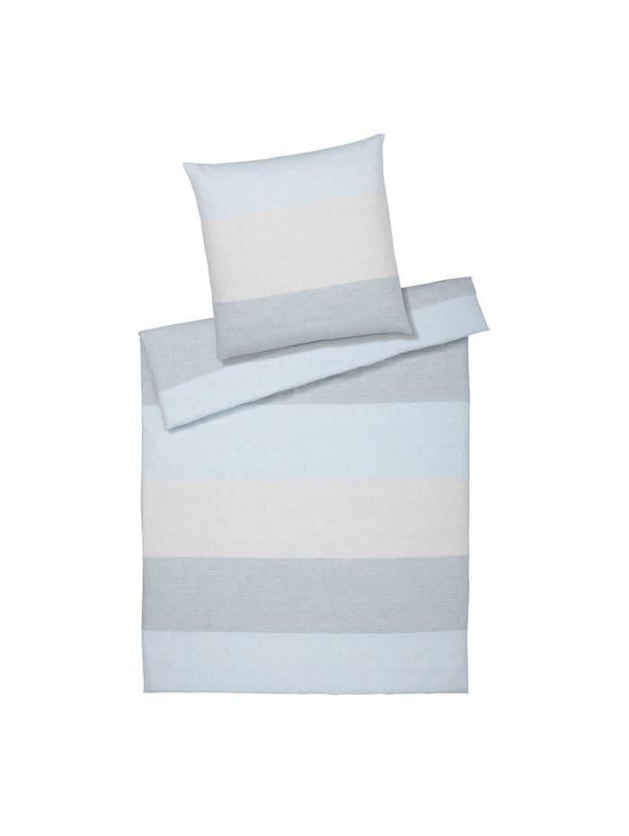 Elegante Halbleinen Bettwäsche Sense blue, blue