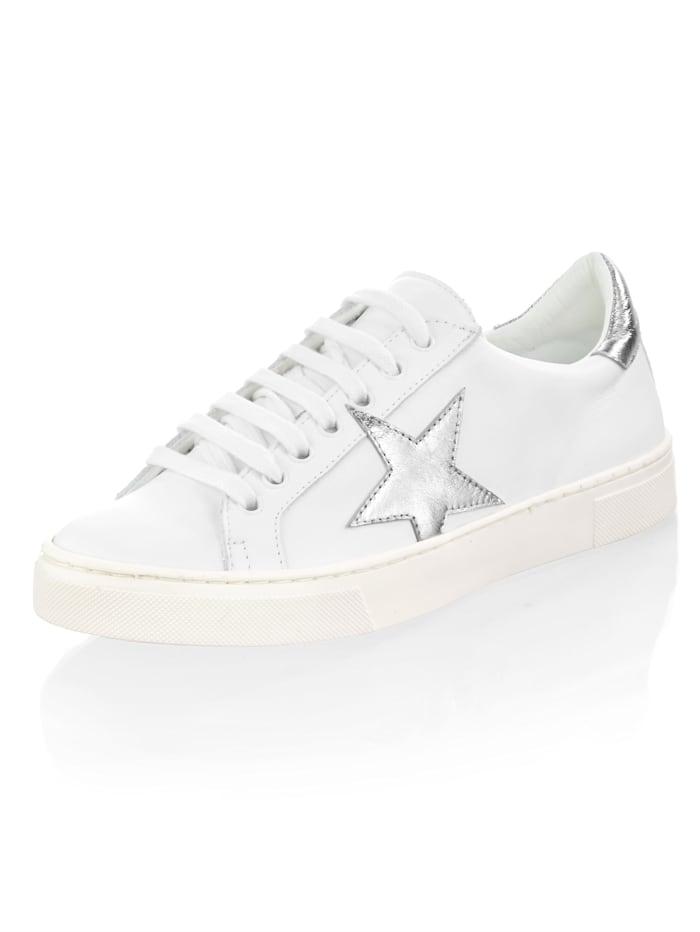 Alba Moda Sneaker met sterapplicatie, Wit/Zilverkleur