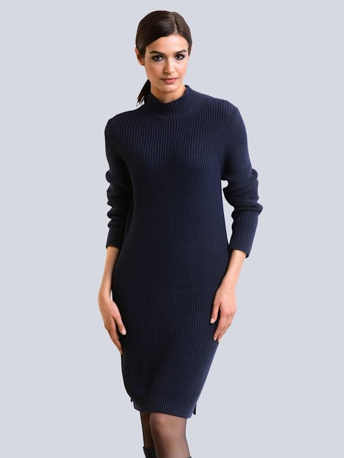 Alba Moda Kleid in Patentstrick, Marineblau