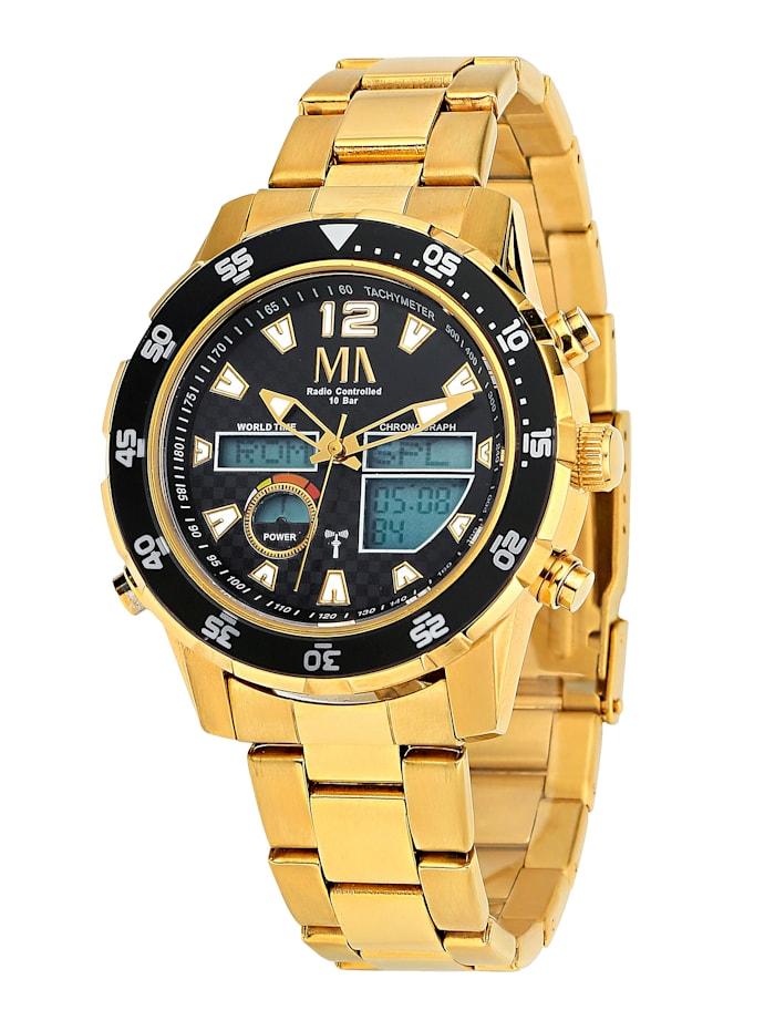 Meister Anker Worldtimer-Funk-Solar-Uhr Chronograph mit Wechselband, Gelbgoldfarben