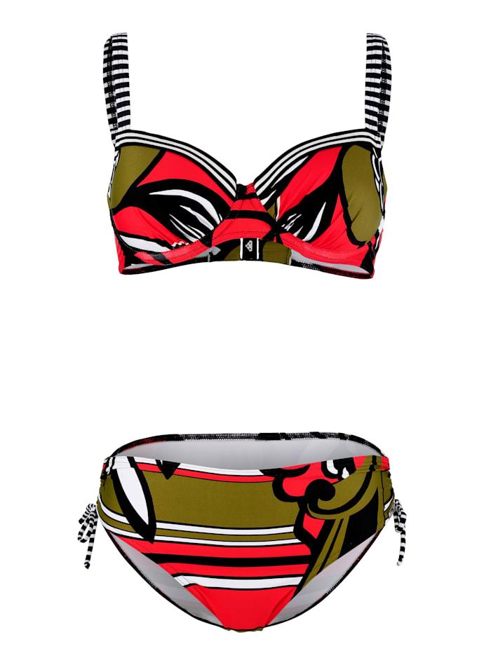 Opera Bikini met gestreepte details, Rood