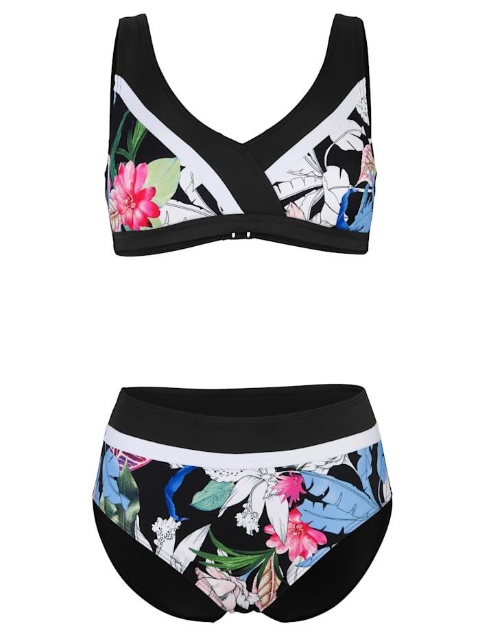 Maritim Bikini med randiga infällningar, Svart/Vit/Cerise