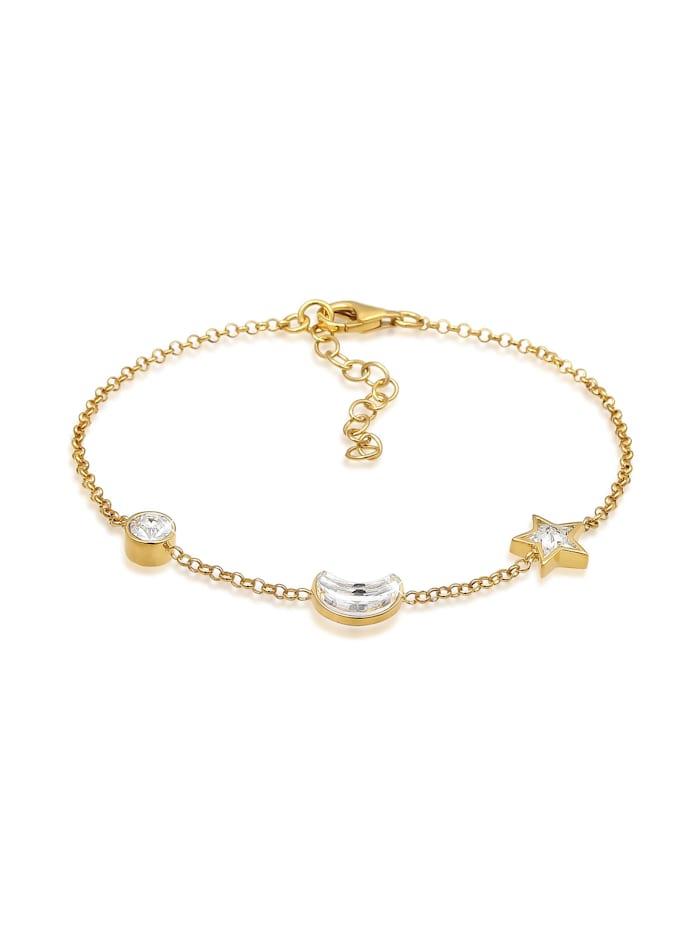 Elli Armband Astro Stern Mond Kristalle 925 Silber, Gold