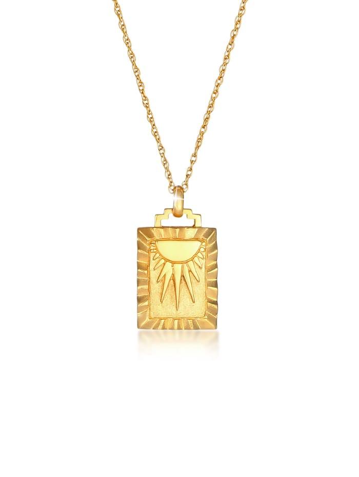 Elli Halskette Sonne Strahlen Münze Rechteck Vintage 925Er Silber, Gold