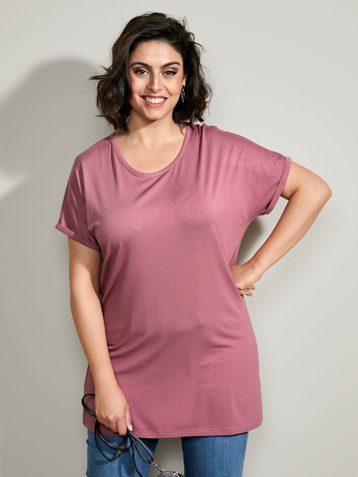 MIAMODA Longshirt mit überschnittener Schulter, Rosé