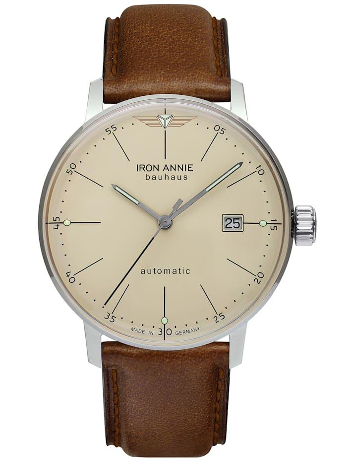 Iron Annie Herrenuhr Automatik mit Datum beige mit braunem Lederarmband 5050-5, beige