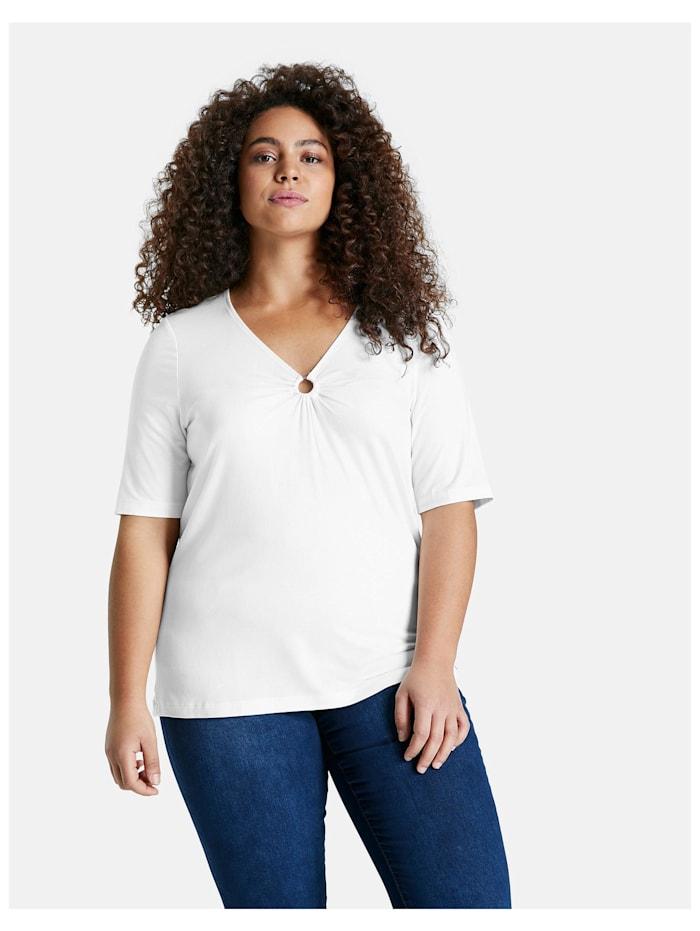 Samoon T-Shirt mit Zierring EcoVero, Offwhite