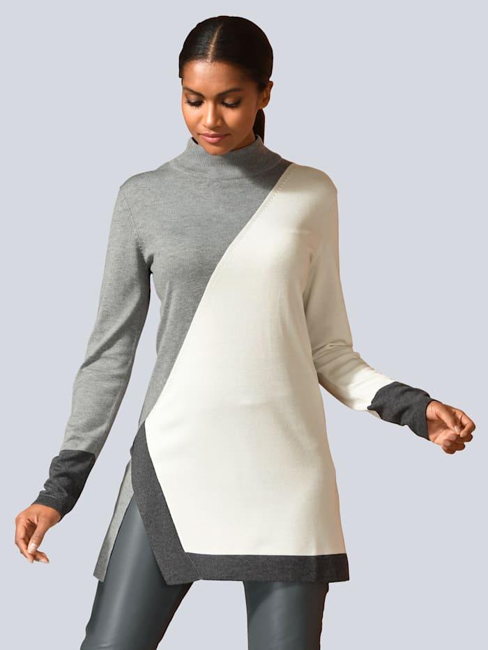 Alba Moda Pullover in Farbflächen gearbeitet, Grau/Weiß