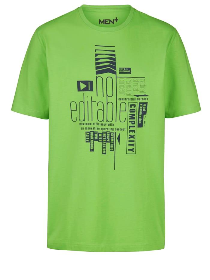 Men Plus T-shirt med tryck, Neongrön