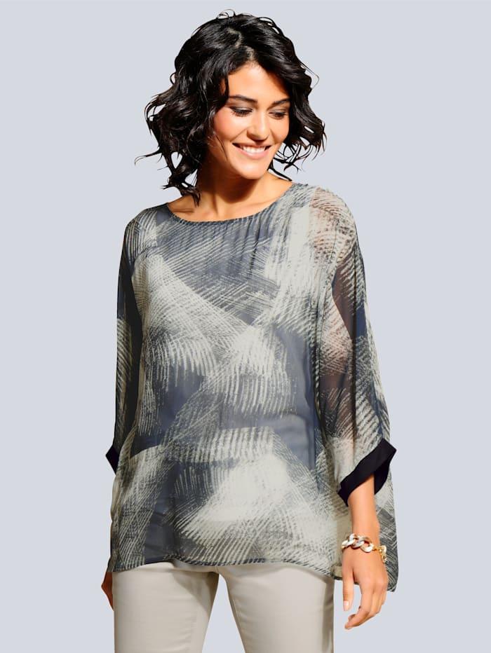 Alba Moda Bluse mit fixiertem Top aus Jersey, Khaki/Stein