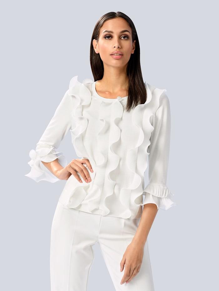 Alba Moda Pullover mit Rüschen-Besatz, Weiß