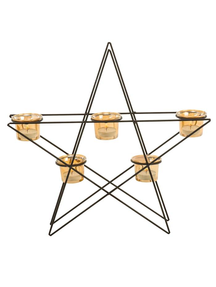 miaVILLA Teelichthalter Shining Star, schwarz/goldfarben