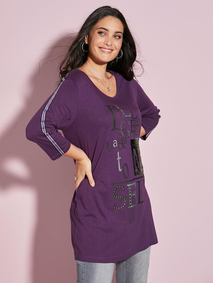 MIAMODA Longshirt mit Nietenverzierung, Lila