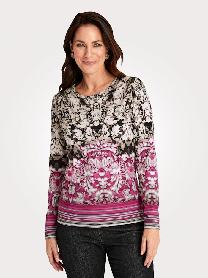 MONA Shirt mit effektvollem Druck-Mix, Fuchsia/Taupe/Khaki