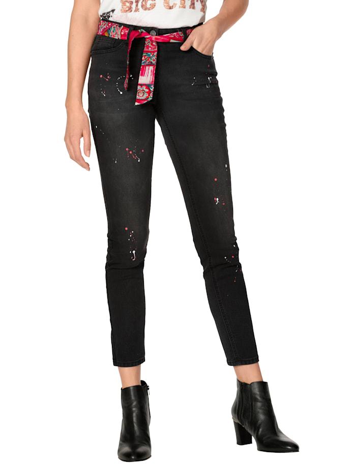 AMY VERMONT Jeans mit Bindegürtel, Black